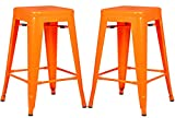 Poly and Bark Trattoria 24″ Counter Height Stool in Orange (Set of 2) For Sale