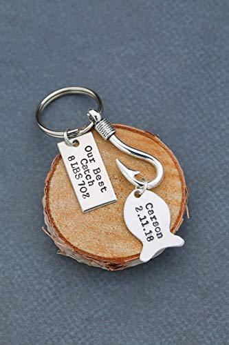 Our Best Catch Keychain - DII QQQ - Personalized New Daddy Gift - Nameplate Date Birth - 1 Inch x .5 Inch Rectangle Hook ()