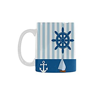 Nautical Ships Wheel Personalized Funny Healthy Ceramic Classical White Mug, Coffee,Water,Tea Cup for Women/Men