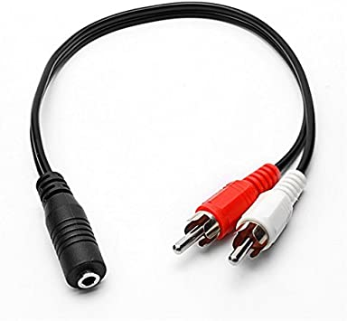 Computer Cables 10pcs Audio Splitter 1 Stereo 3.5mm Aux Male Plug to 2 RCA Female Jack Y Adapter Cable Length: 0, Color: Black