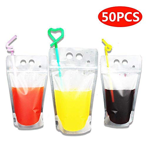 - 50 Pack Drink Bags Stand up Reclosable Zipper Drinking Pouches Bags Hand-held Drinking Bags with Plastic Straw, 5.1 by 9.1 Inches 8mil