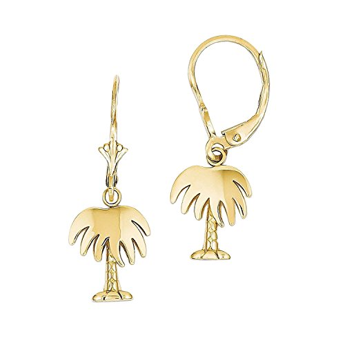 14K Yellow Gold Palm Tree Leverback Earrings 14k Yellow Gold Palm Tree