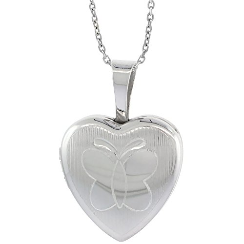 Sterling Silver Necklace Engraved Butterfly