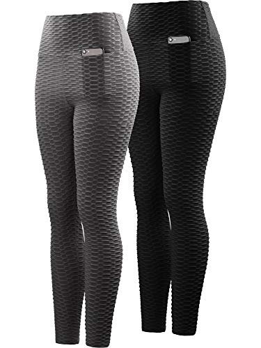 Neleus Women's 2 Pack Tummy Control High Waist Leggings Out Pocket,9036,Black/Grey,S,EU M by Neleus (Image #7)
