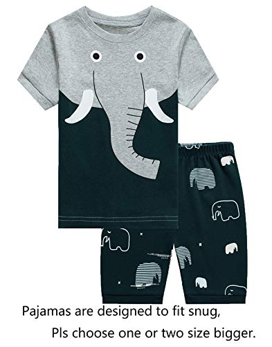 Barara King Baby Boys Elephant Snug-Fit Pajamas 100% Cotton Grey Pjs Clothes Infant Kid 18-24 Months by Barara King
