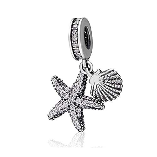 Tropical Starfish & Sea Shell Hanging Charm - 925 Sterling Silver Beads - European Style Bead Charm Bracelet