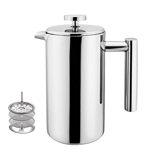 Miuly French Press, Double Wall 18/8 Stainless Steel Coffee & Tea Maker, 8 Cup, 1000ml, Gift set with 2 Additional Replacement Filter Screens (Brewing Trap Air)