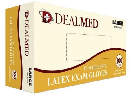 Disposable Latex Exam Powder Free Gloves, 100 Count, Size Large