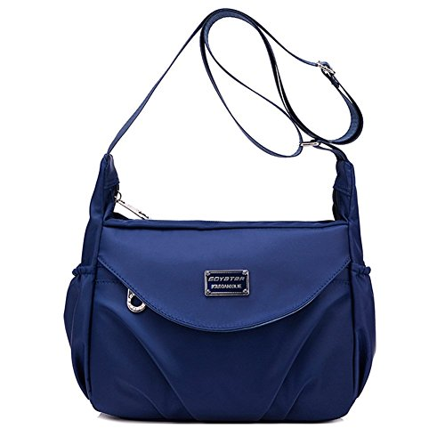 Women's Navy Blue Nylon Crossbody Purse / Handbag for Travel or Everyday | Colorful & Lightweight With Water Resistant Exterior, Zippered Pockets, & Adjustable Strap for All Day Comfort | By Soyater (Womens Handbags Exterior Pocket)