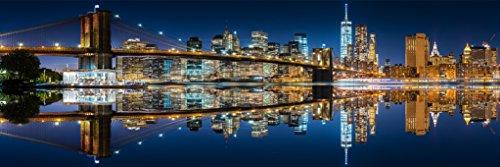 - Mirrored New York City Skyline at Night Panoramic Photo Art Print Poster 36x12 inch