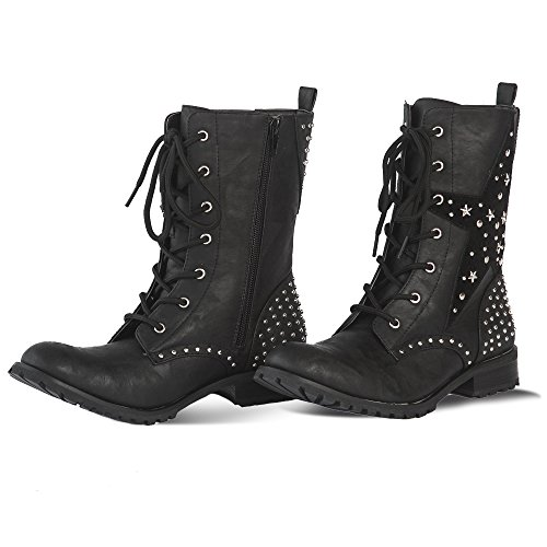 Gia Mia Kids' Big Girl's Star Studded Combat Boot