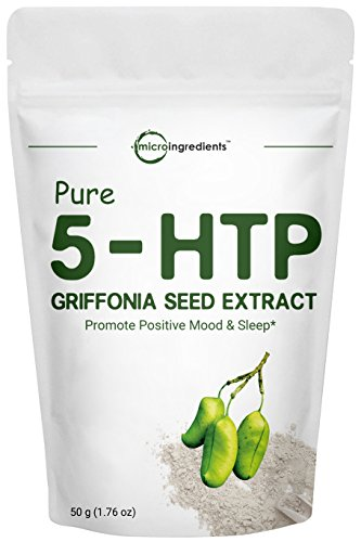 Micro Ingredients Pure 5 HTP Powder (Griffonia Seed Extract Powder), 50 Grams, Powerfully Supports Positive Mood & Stress Relief, Non-Irradiated, Non-Contaminated, Non-GMO and Vegan Friendly.