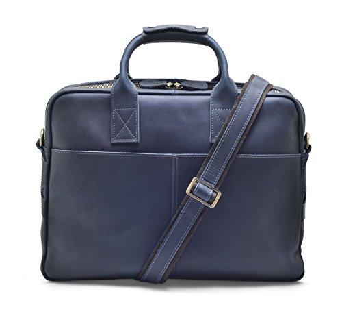 """Hølssen Men's Leather Briefcase Messenger Bag (Dark Blue) Professional Business Satchel w/ 15"""" Laptop Pocket by Hølssen (Image #2)"""