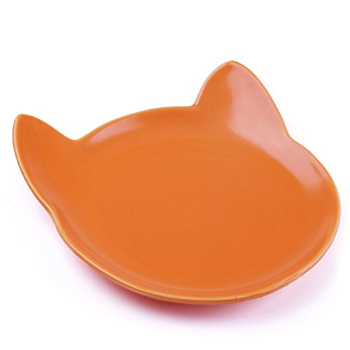 ThinkPet Ceramics Cat Food Bowl Shallow Wide Cat Dish Prevent Whiskers Fatigue Orange