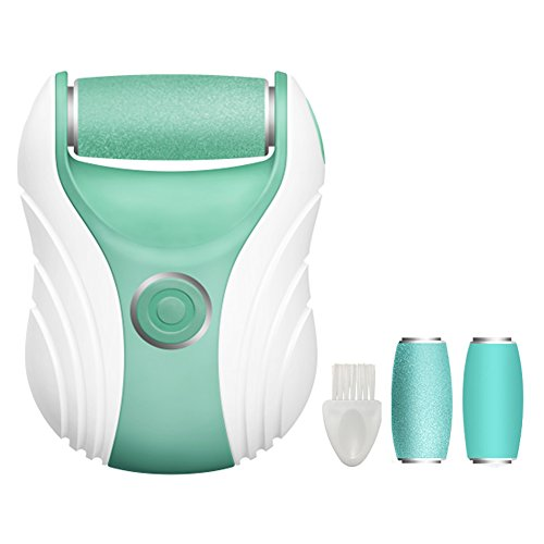 Foot File Electric Pedicure Callus Remover with 2 Rollers, Rechargeable Professional Micro Pedi Callus Shaver Foot Sander (Green)