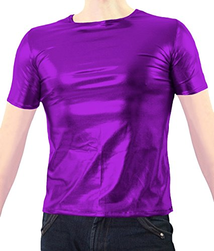 [Marvoll Unisex Shiny Party Clubbing Dance Gay Stag / Hen T Shirt (Kids Medium, Purple)] (Costume Spiderman Original)