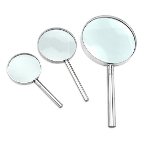 Classic High Power Magnifying Glass Set - 6X, 8X and 10X - Chrome Rim and Handle