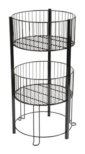 Displays2go 2-Tier Wire Dump Bin for Floor Displays 16-Inch Round Retail Storage Baskets, Black (TIERDB2BK)