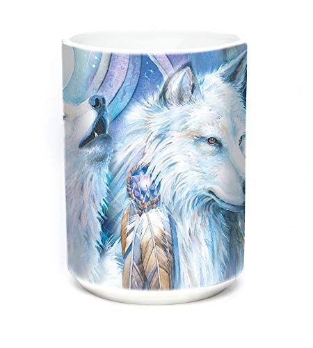 The Mountain 15oz White Ceramic Wolves Mug Unforgettable Journey