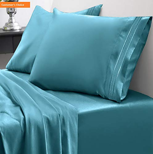 Mikash 1800 Thread Count Sheet Set - Soft Egyptian Quality Brushed Microfiber Hypoallergenic Sheets - Luxury Bedding Set with Flat Sheet, Fitted Sheet, 2 Pillow Cases, Queen, Teal   Style 84597115