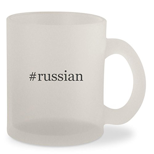 #russian - Hashtag Frosted 10oz Glass Coffee Cup Mug (Keychain Terrier Watch)