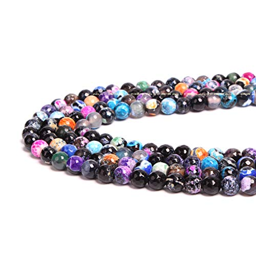 (100% Natural Stone Gemstone Round Loose Beads Semi Natural Round Stone Crystal Energy Stone Necklace Bracelet DIY Healing Power Stone for Jewelry Making 1 Strand 15