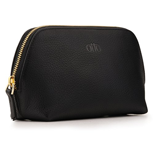 - OTTO Genuine Leather Makeup Bag Cosmetic Pouch Travel Organizer Toiletry Clutch, Black