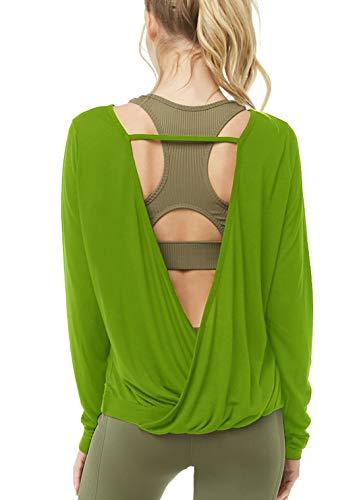 Muzniuer Women's Backless Long Sleeve Yoga T Shirt Casual Open Back Cross Blouse Tops Thumbhole Shirts Long Sleeve Workout Top Summer Top OliveGreen ()