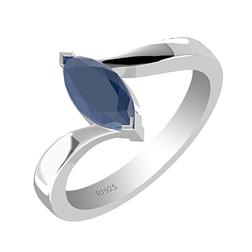 1.00ctw,Genuine Sapphire 5x10mm Marquise & Solid .925 Sterling Silver Ring (Size-12.5)