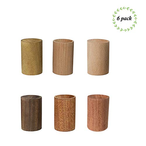 Yeejok Essential Oils Diffusers Set, Natural Wooden Aromatherapy Tool, Cylinder Portable Mini Air Fresher with Gift Bag for Car/Bedroom/Beauty Salon/Meditation - 6 Pack ()