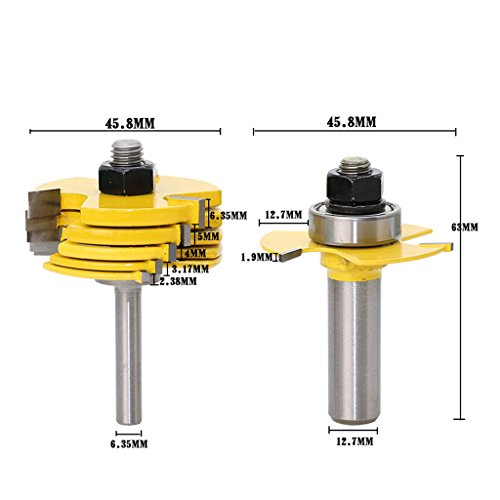 Flameer 8pcs Slot Router Bit 6 Cutter and 1/2'' & 1/4'' Shank Adjustable Wood Work Tools by Flameer (Image #9)