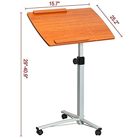Marketworldcup-Adjustable Angle&Height Rolling Mobile Laptop Desk Cart Bed Hospital Table Stand Top Qaulity!US same day dispatch!Cheapest