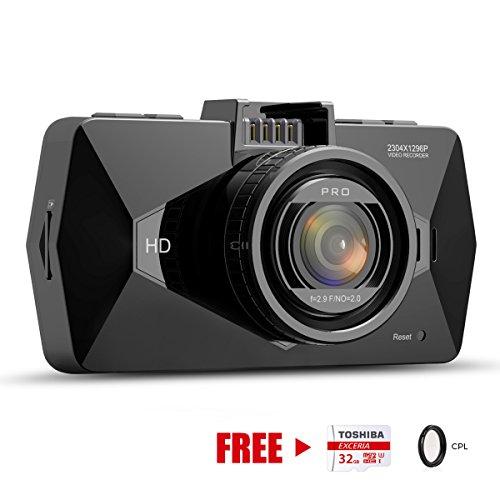 Dash Cam, SEYDI F1 Car Camera : 2.7 Screen 2K Full HD 1296p Dashboard Camera, 170
