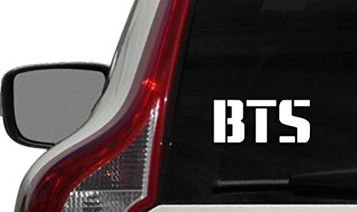 BTS Bangtan Text Logo Car Vinyl Sticker Decal Bumper Sticker for Auto Cars Trucks Windshield Custom Walls Windows Ipad Macbook Laptop Home and More (WHITE)