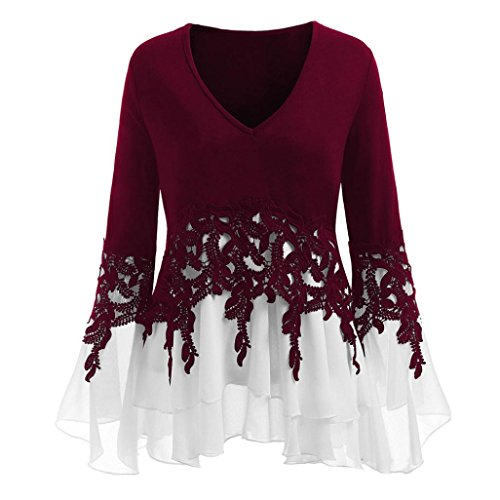 Womens Applique Tops,Realdo Fashion Casual Lace Flowy Chiffon V-neck Long Sleeve Blouse Tops (Wine,X-Large)