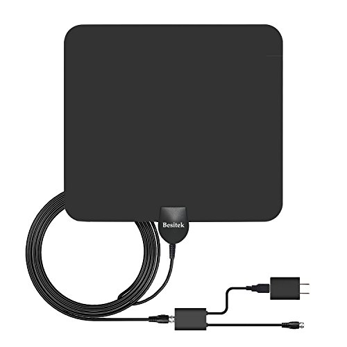 Besitek TV antenna 50 Mile Range Amplified HDTV Antenna, with Detachable Amplifier Signal Booster for the Highest Performance and 10 Feet Coaxial Cable