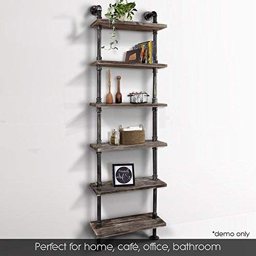 Industrial 6-Tiers Modern Ladder Shelf Bookcase ,Wood Storage Shelf,Display Shelving, Wall Mounted Wood Shelves, Metal Wood Shelves Bookshelf Vintage Wrought Iron Finish ()