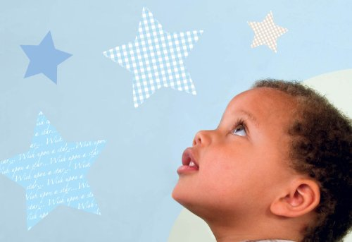 Baby Border Bedding (FunToSee Wish Upon A Star Boys Nursery and Bedroom Wall Decals, Stars)