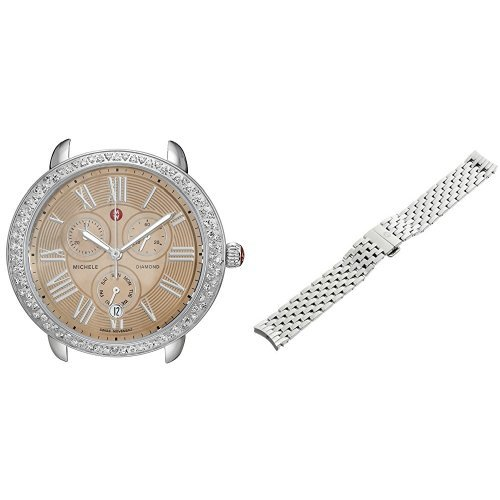 MICHELE-Womens-Serein-Analog-Display-Swiss-Quartz-Silver-Tone-Watch-Head-with-Stainless-Steel-Bracelet