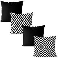 Kit 4 capas de almofadas geométrica preto e branco 42x42