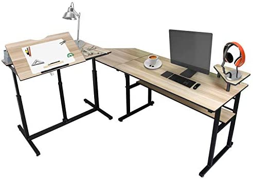Multi-Function L-Shaped Desk Corner Computer Desk PC Laptop Study Lift Table, Drafting Table Commercial Desks, Suitable for Families, Study, Office, School