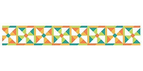 - Washi Die-Cut Pavilio Lace Tape, Kazaguruma Teal and Orange Windmills