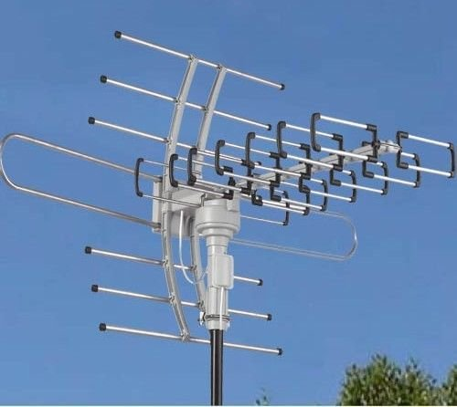 HDTV Outdoor Attic Amplified Antenna 36dB Rotor Remote 360° UHF/VHF/FM 150 Miles, Support 2 TVs at the same time without a splitter