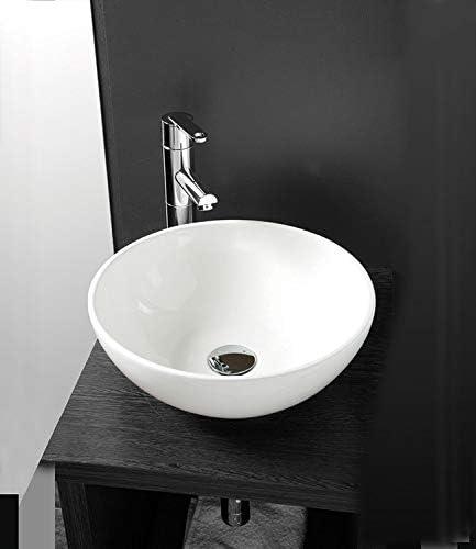 Lavabo de salle de bain Luxueuse Vasque /à Poser en C/éramique Lavabo Blanche Forme ronde 28 x 28 x 12 Cm