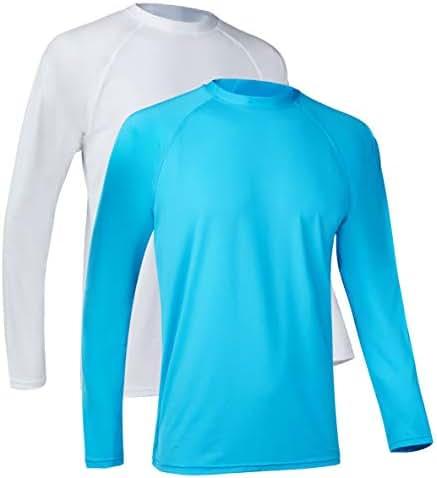 SILKWORLD Men's UPF 50+ Rashguard Swim Shirts Sun Protection Quick Dry Shirt