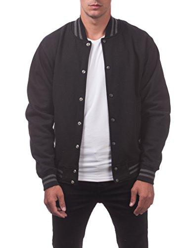 Pro Club Men's Varsity Fleece Baseball Jacket, Black/Black, 4X-Large ()