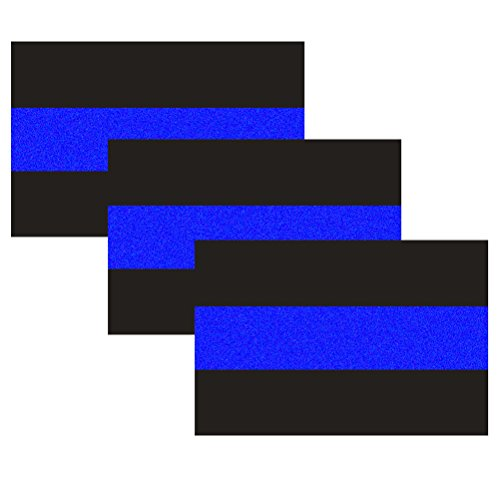 Police Window (3 Pack Reflective Police Thin Blue Line Bumper Decal Stickers 4