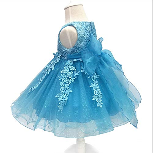 Baby Girls Dress Lace Flower Christening Gown Baptism Clothes Newborn Kids Girls 1Yrs Birthday Infant Party Costume Sky Blue 6M ()