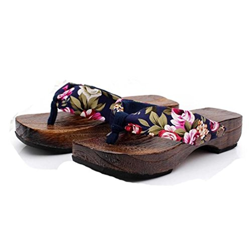 Wooden Slides Sandals (Wooden Flip Flops, Wood Sandals, Hometom Women Platform Shoes Clog Wooden Slippers Flip Flops (7 (M) US, Blue))