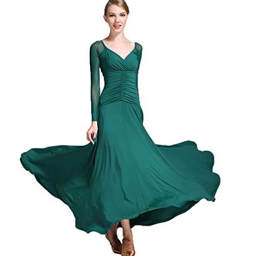 Wqwlf Da Delle Professionale Costume Ballo Sala Valzer Donne Prestazione Formazione m Tuta Danza L Moderna Darkgreen rTqpxgr